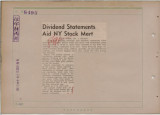 Dividend Statements Aid NY Stock Mart
