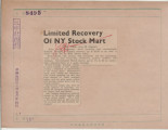 Limited Recovery Of NY Stock Mart