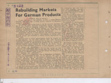 Rebuilding Markets For German Products