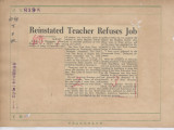 Reinstated Teacher Refuses Job